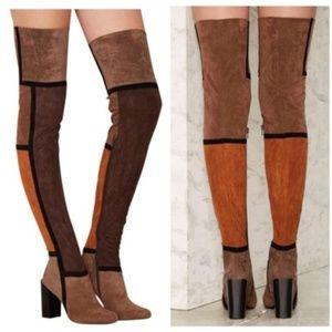 Jeffrey Campbell, NIB, Suede OTK boots, 8, Brown